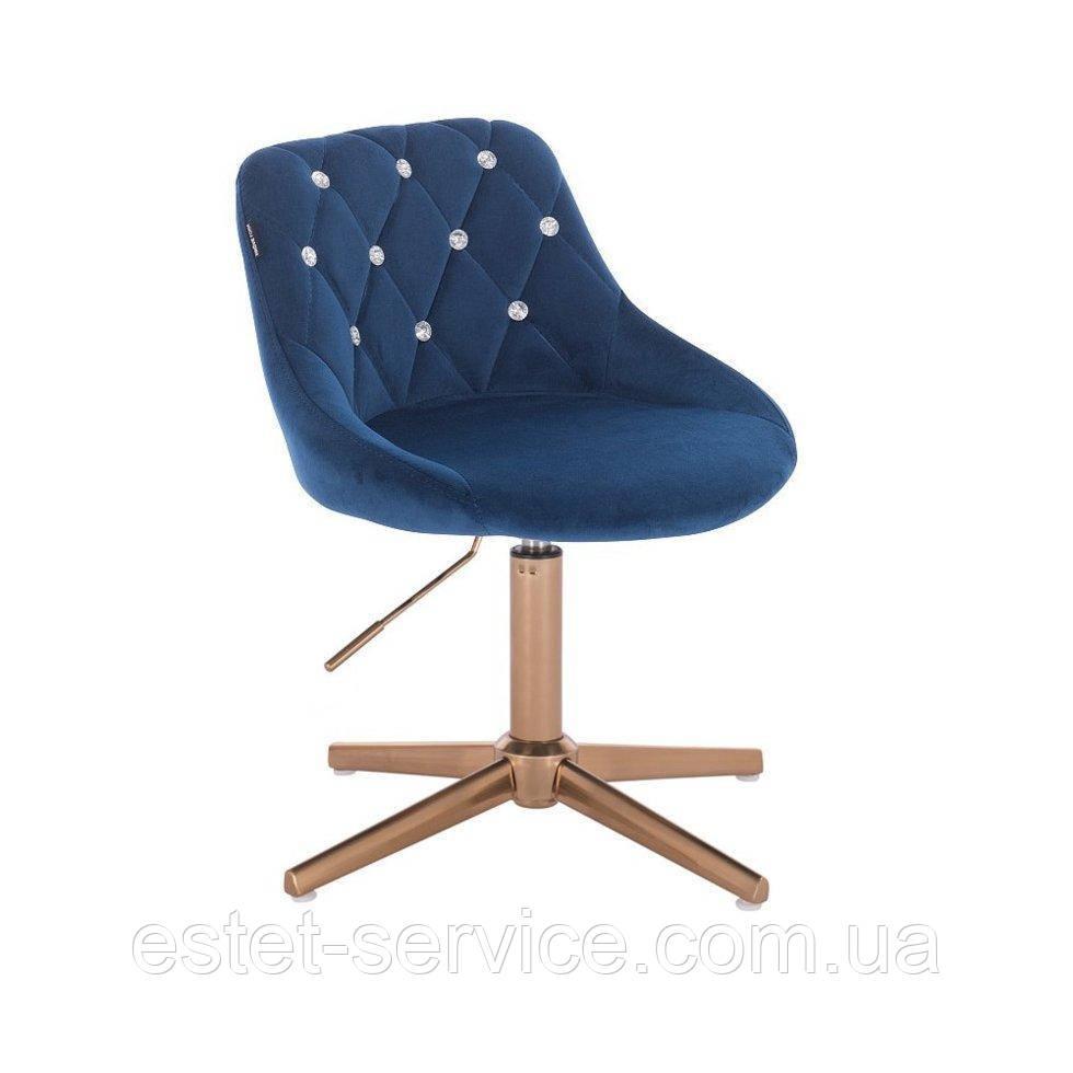 Парикмахерское кресло HROVE FORM HR1054С CROSS на золотых стопках в ЦВЕТАХ велюр стразы