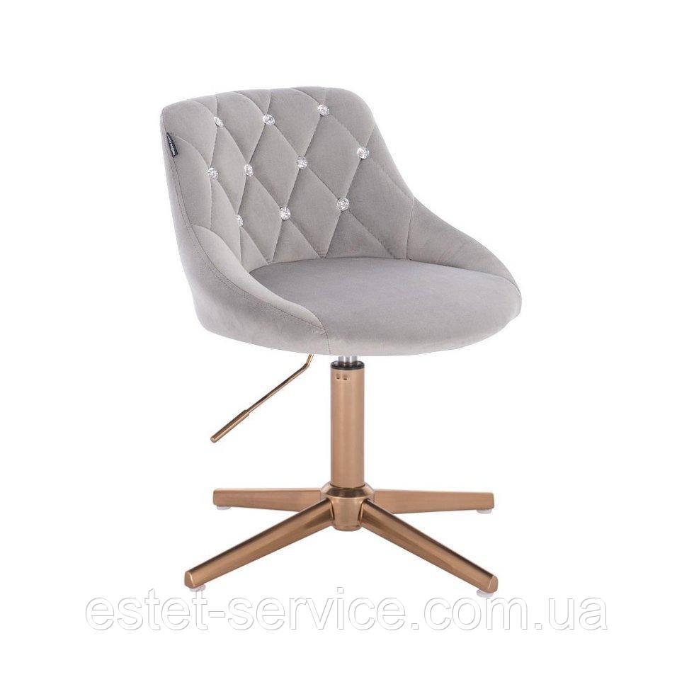 Парикмахерское  кресло HROVE FORM HR1054С CROSS стальной велюр крестовина золото