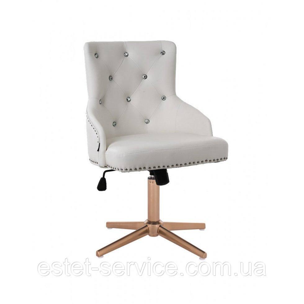 Парикмахерское  кресло HROVE FORM HR654CROSS белый кожзам со стразами крестовина золото