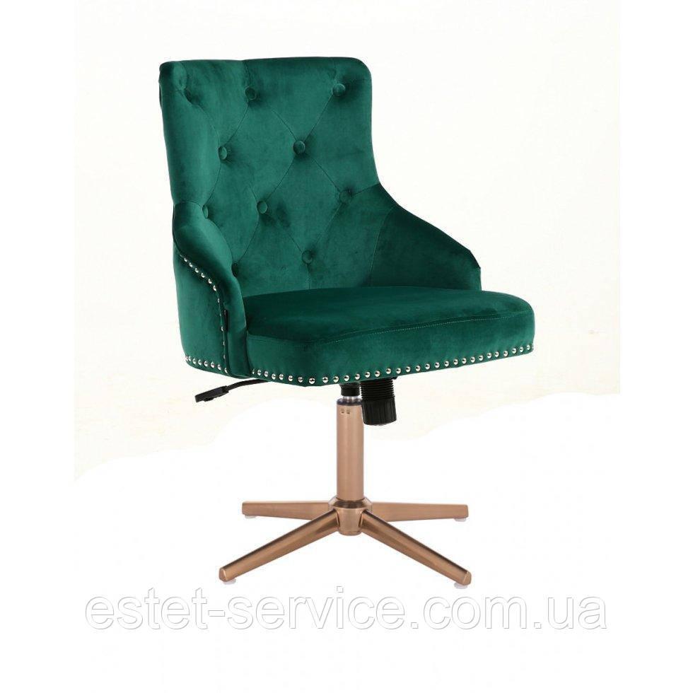 Парикмахерское  кресло HROVE FORM HR654CROSS бутылочный велюр с пуговицами крестовина золото
