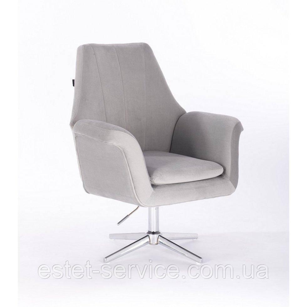 Парикмахерское  кресло HROVE FORM HR660CROSS  стальной велюр