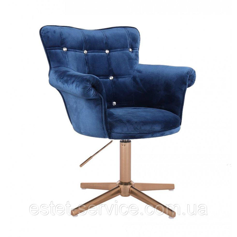Парикмахерское  кресло HROVE FORM HR804C CROSS синий велюр крестовина золото