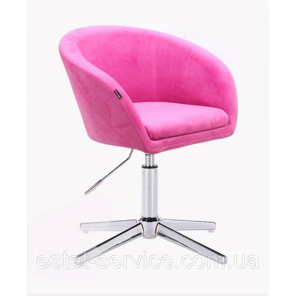 Парикмахерское  кресло HROVE FORM HR8326CROSS малиновый велюр
