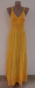 Женский желтый сарафан. Кружевово, гафре. . Хлопок 100%. Индия