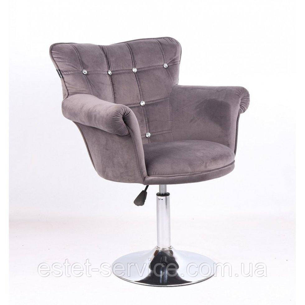 Парикмахерское кресло HR804C графитовый велюр