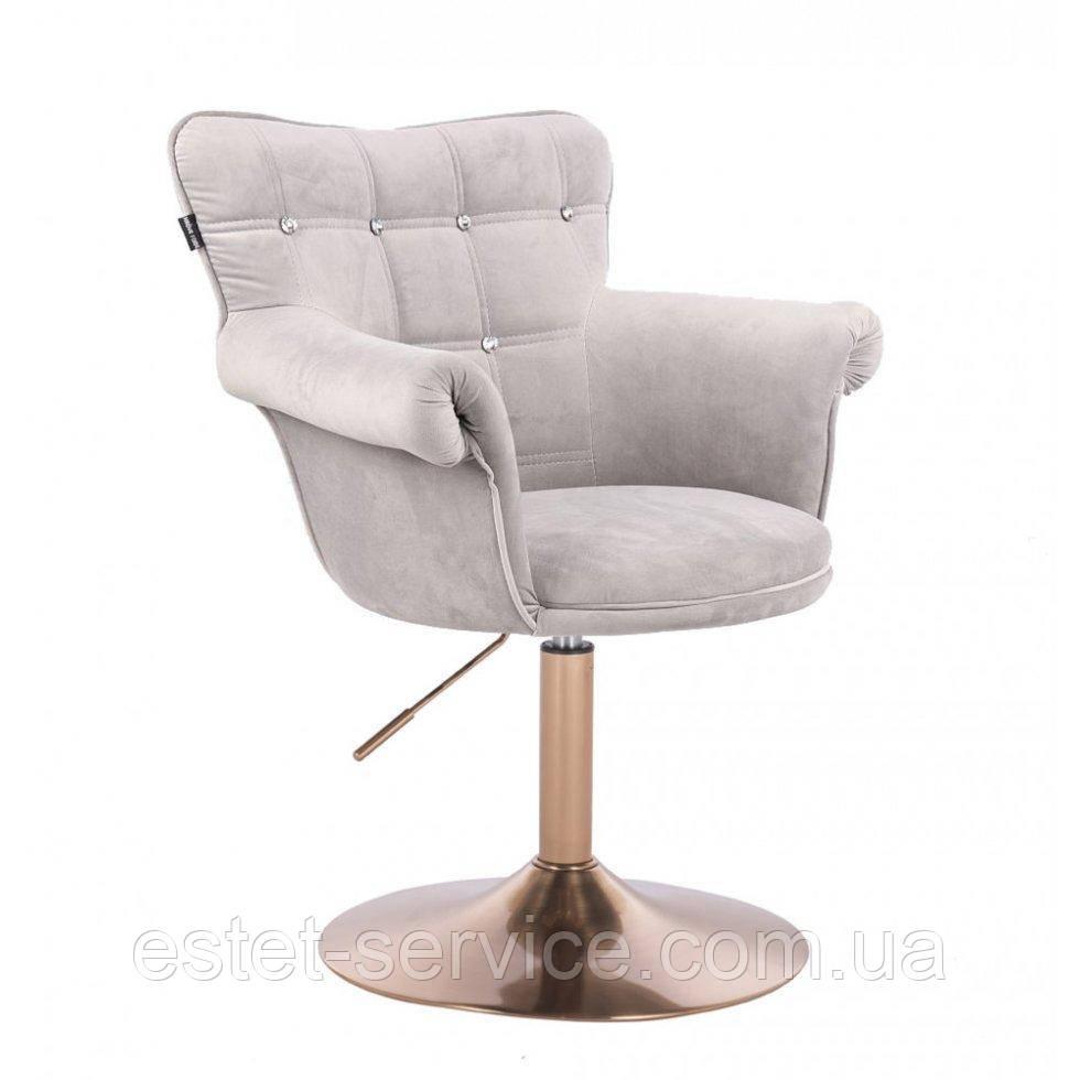 Парикмахерское кресло HR804C стальной велюр золотая основа