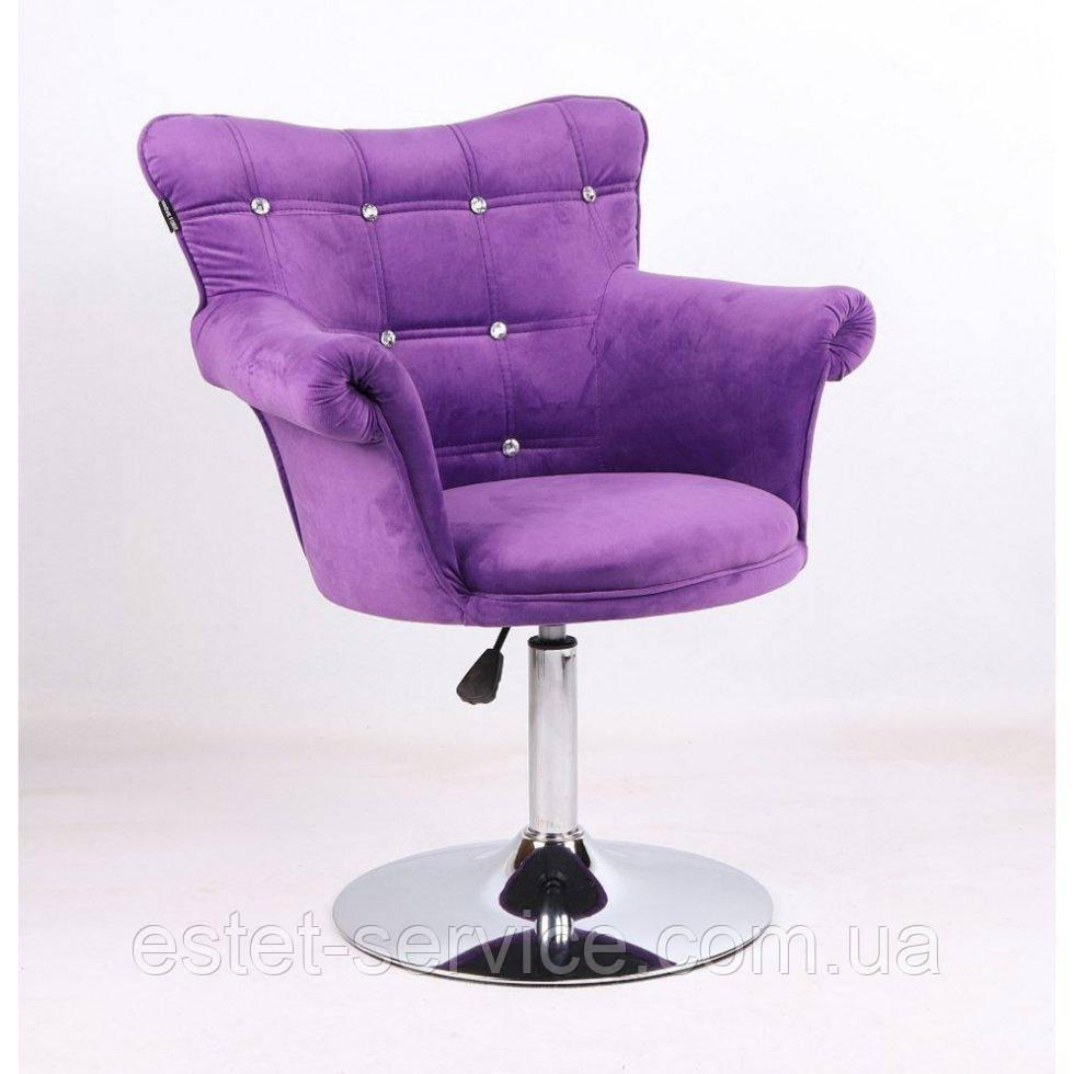 Парикмахерское кресло HR804C фиолетовый велюр