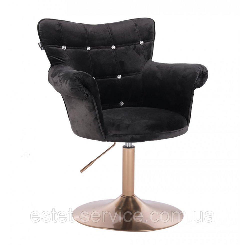 Парикмахерское кресло HR804C черный велюр золотая основа