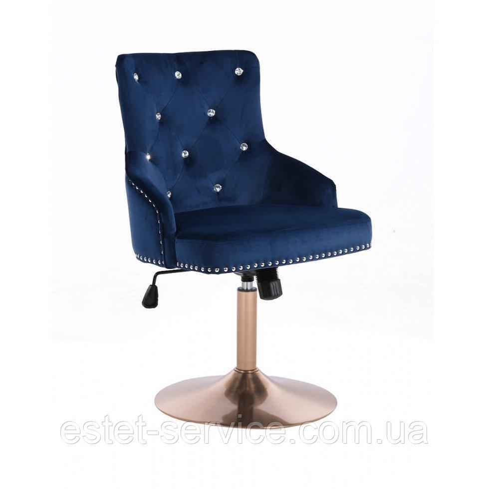 Парикмахерское кресло HROVE FORM HR654CN синий велюр со стразами основа золото