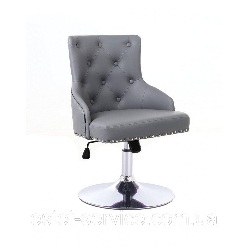 Парикмахерское кресло HROVE FORM HR654N серый кожзам с пуговицами