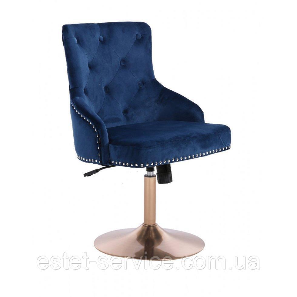 Парикмахерское кресло HROVE FORM HR654N синий велюр с пуговицами основа золото