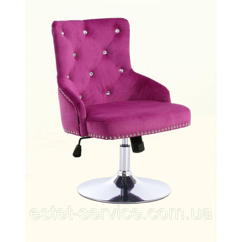 Парикмахерское кресло HROVE FORM HR654N фуксия велюр со стразами