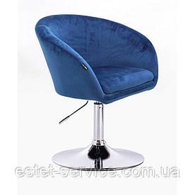 Парикмахерское кресло HROVE FORM HR8326 синий велюр