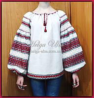 """Дитяча туніка-блуза з вишивкою і натуральним мереживом """"Катерина"""" - 134 р."""