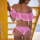 Роздільний Купальник жіночий рожевий з воланом, фото 3