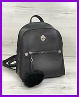 Женский молодежный городской рюкзак WeLassie Бонни с пушком черный, фото 1