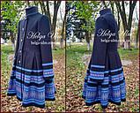 """Пальто для дівчинки в етностилі """"Верховина"""" (чорно блакитне),  104 р. , фото 2"""