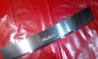 Накладка на задний бампер с загибом для Chevrolet Aveo 3, Шевроле Авео 3