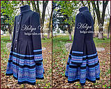 """Пальто для дівчинки в етностилі """"Верховина"""" (чорно блакитне), 134 р., фото 2"""