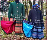 """Пальто для дівчинки в етностилі """"Верховина"""" (чорно блакитне), 134 р., фото 3"""