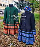 """Пальто для дівчинки в етностилі """"Верховина"""" (чорно блакитне), 134 р., фото 4"""
