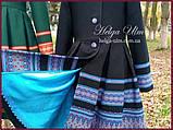 """Пальто для дівчинки в етностилі """"Верховина"""" (чорно блакитне), 134 р., фото 5"""