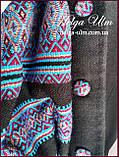 """Пальто для дівчинки в етностилі """"Верховина"""" (чорно блакитне), 134 р., фото 9"""