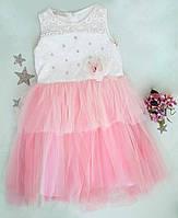 """Красивое и нежное детское бальное платье на девочку """"Миледи"""", молочный+розовый, р. 10-11, 12-13 лет, фото 1"""