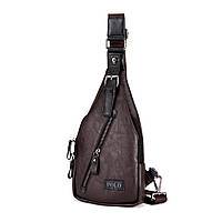 Мужская сумка слинг, кросс боди через плечо V9903 коричневая