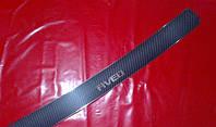 Накладка на задний бампер карбон для Chevrolet Aveo 3, Шевроле Авео 3