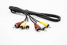 Аудіо відео шнур 3RCA-3RCA (штекер-штекер)1,2 m