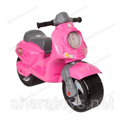 Беговел скутер розовый