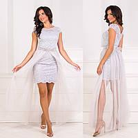 """Сіре випускний, вечірній гіпюрову сукню-трансформер """"Імперія лайт"""", фото 1"""