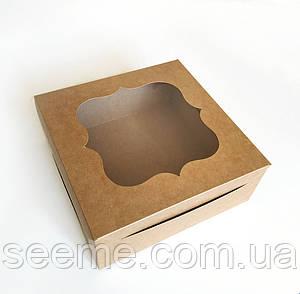Коробка из крафт картона с окошком 250х250х100 мм.