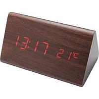 Часы VST 864 коричневое дерево красная подсветка Настольные Электронные Температура Деревянные Стильные