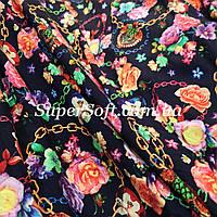 Ткань штапель принт цепи с цветами