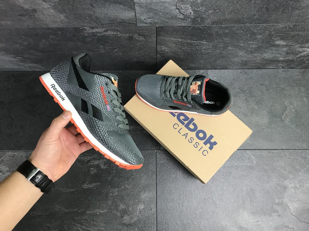 Мужские кроссовки Reebok (серо-черные с оранжевым)