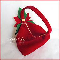 """Сумочка з оксамиту """"Пуансетія"""", з декором, для святкової сукні, червона"""