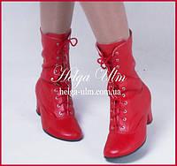 Червоні шкіряні чоботи - 33 р. ПРОКАТ у Львові з костюмами від ТМ Helga Ulm, фото 1