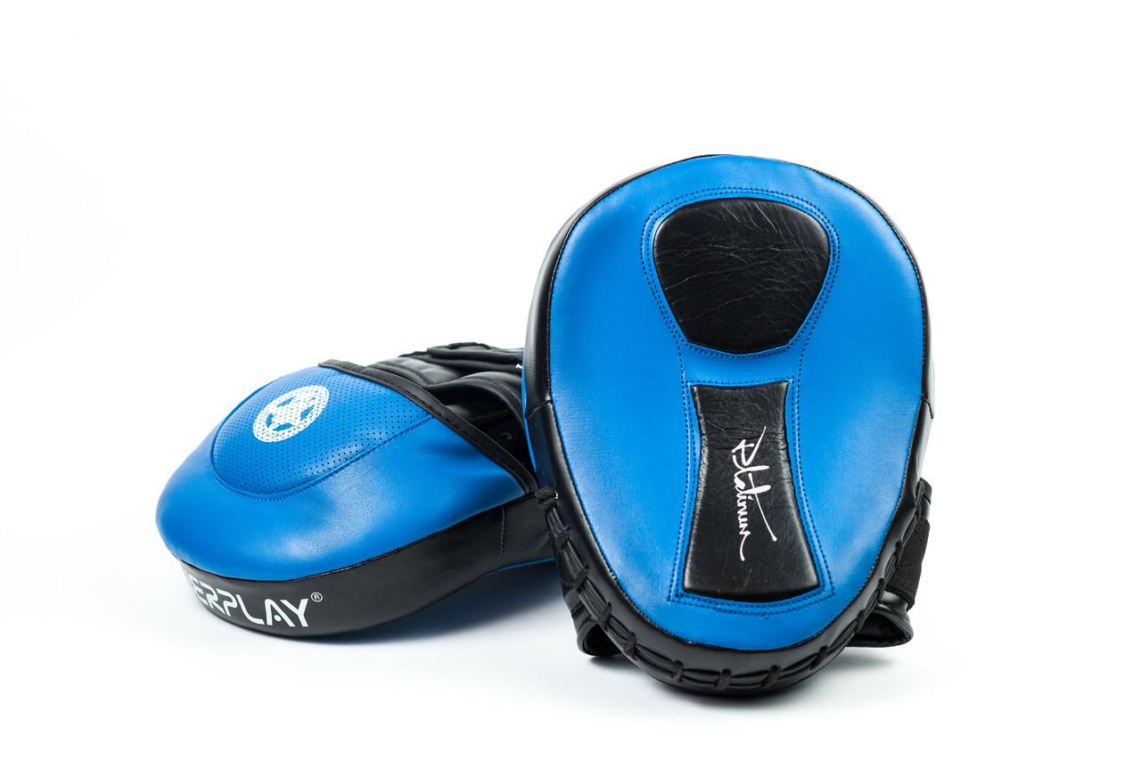 Лапи боксерські PowerPlay 3030 Синьо-Чорні PU [пара]