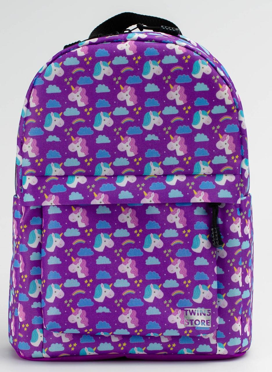 Рюкзак TwinsStore MINI Единороги Р95, фиолетовый 12 л