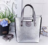 Женская сумка Zara (копия) цвета серебро с переливом+светлая бронза, из структурной искусственной кожи