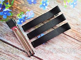 Металлическая заколка с репсовой лентой, 6 см., цвет черный