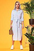 Платье-рубашка в крупную голубую полоску с вырезами