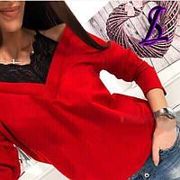 Кофта с гипюром и открытыми плечами красная розовая хаки