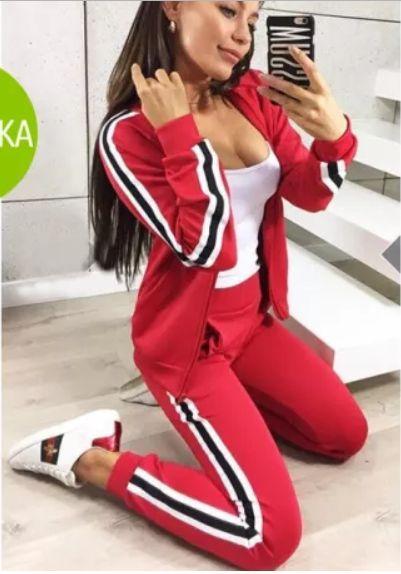Женский спортивный прогулочный костюм смарт на замке с двухцветными лампасами С-ка красный