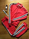 Женский спортивный прогулочный костюм смарт на замке с двухцветными лампасами С-ка красный, фото 3