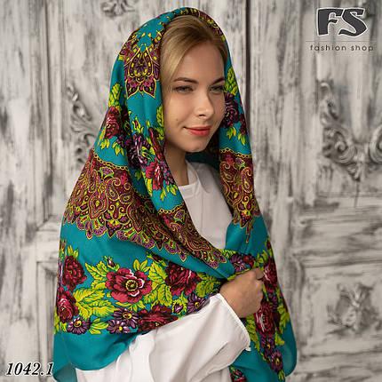 Бирюзовый платок без бахромы Букет цветов, фото 2