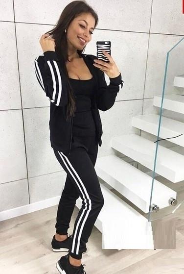 Женский спортивный прогулочный костюм смарт на замке с двухцветными лампасами М-ка черный