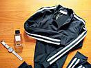 Женский спортивный прогулочный костюм смарт на замке с двухцветными лампасами L-ка черный, фото 2